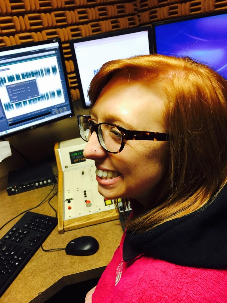 Amy K in the booth with a new piercing