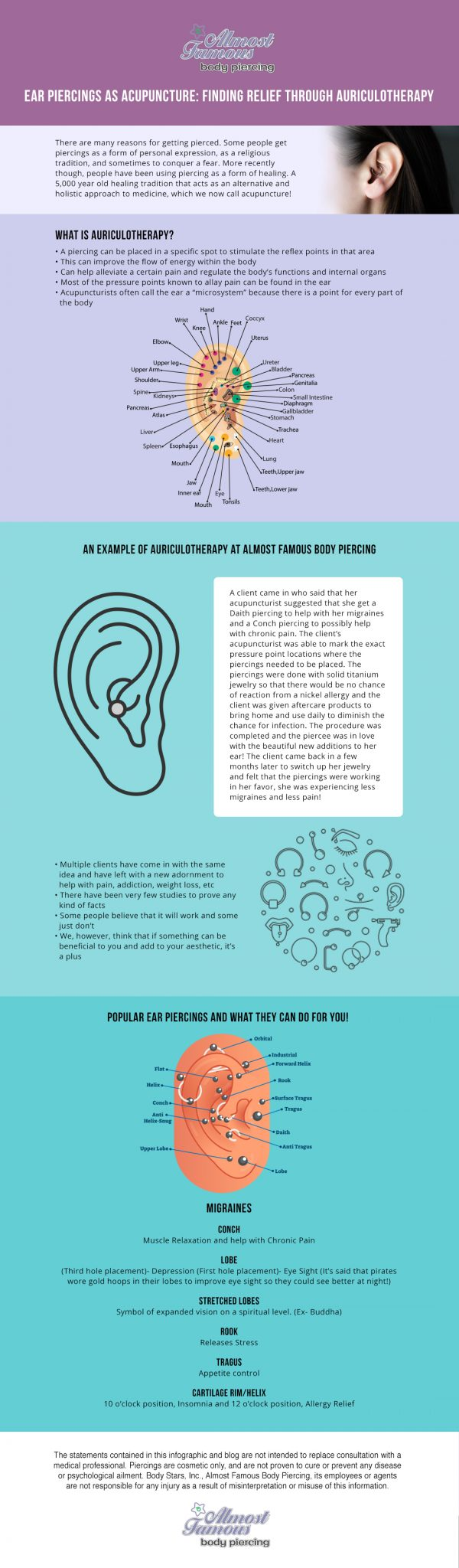 Ear Piercings as Acupuncture- Finding Relief through Auriculotherapy infographic - Almost Famous Body Piercing