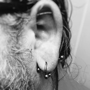 upclose shot of transverse lobe piercing